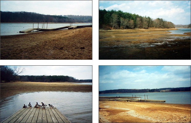 A depleted Piney Run Lake circa 1999. Photos courtesy of Dot and Merrill Sumey.